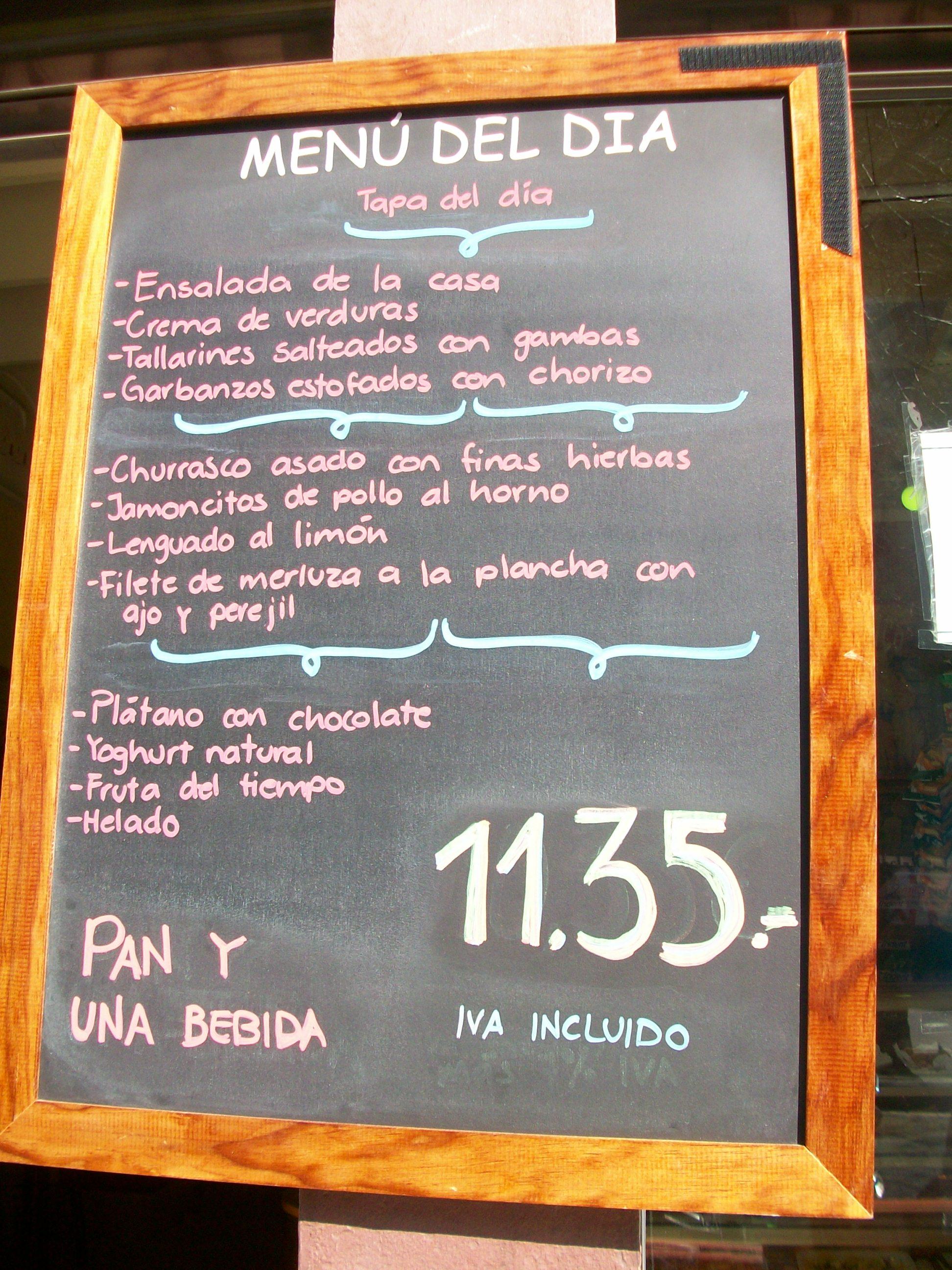 Barcelona Drink Menu