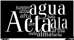 el actaact, record el aguawater el águilaeagle el alawing el albadawn el algaseaweed el almawoman, soul el arcachest, box el arm
